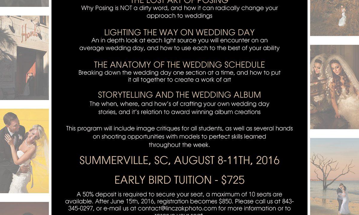 Wedding Photography Workshop   August 2016   Charleston, SC