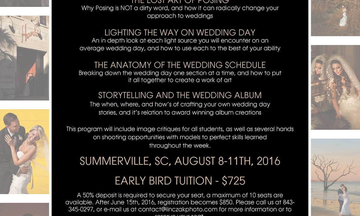 Wedding Photography Workshop August 2016 Charleston Sc