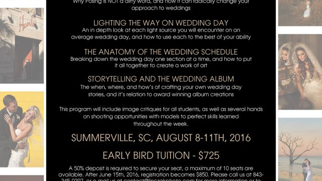 Wedding Photography Workshop | August 2016 | Charleston, SC