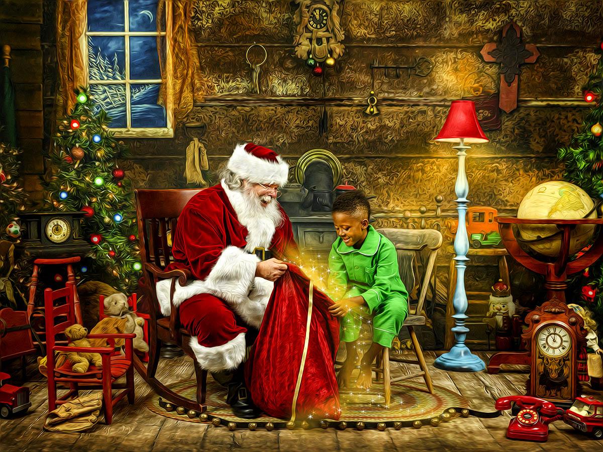 magical santa kids photos